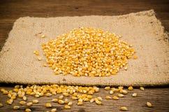mucchio del seme secco del cereale sulla borsa del sacco Fotografia Stock Libera da Diritti