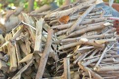 Mucchio della betulla per il camino Fotografie Stock