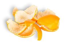 Mucchio della buccia del mandarino Fotografia Stock