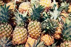 Mucchio della fine dell'ananas su fotografia stock libera da diritti