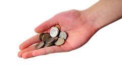Mucchio della holding della mano delle monete fotografie stock