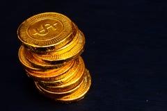 Mucchio della moneta di oro Fotografia Stock