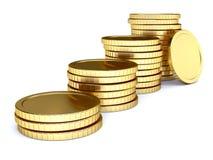Mucchio della moneta dorata come scale Fotografia Stock