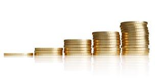 Mucchio della moneta dorata come scale Immagini Stock