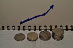 Mucchio della moneta e del grafico indonesiani investimento immagine stock libera da diritti