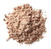 Mucchio della polvere della proteina del cioccolato fotografia stock libera da diritti