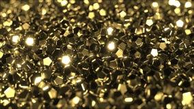Mucchio della rappresentazione dorata brillante dei cristalli 3D Immagine Stock Libera da Diritti