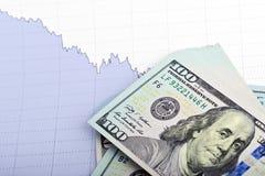 Mucchio delle banconote in dollari con il grafico di affari Fotografia Stock Libera da Diritti