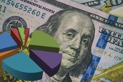 Mucchio delle banconote in dollari dei soldi e di una freccia rossa su La crescita del tasso di cambio il dollaro Immagine Stock