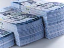 Mucchio delle banconote saudite del riyal Immagini Stock