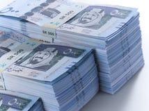 Mucchio delle banconote saudite 2 del riyal Immagini Stock Libere da Diritti