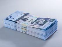 Mucchio delle banconote saudite del riyal di 500 con l'immagine di re Abdulazi Immagine Stock Libera da Diritti
