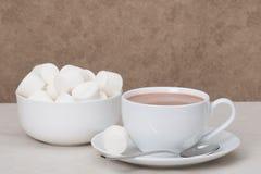 Mucchio delle caramelle gommosa e molle in ciotola bianca Bevanda del cioccolato caldo Immagini Stock Libere da Diritti