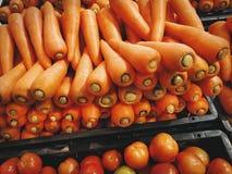 Mucchio delle carote e dei pomodori in vassoi di plastica neri Fotografia Stock