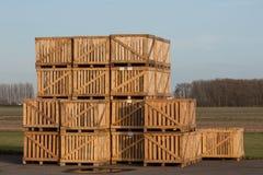 Mucchio delle caselle di legno Fotografia Stock