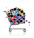 Mucchio delle foto in carrello di acquisto per il vostro disegno Fotografia Stock