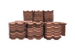 Mucchio delle mattonelle di tetto impaccate. Fotografia Stock