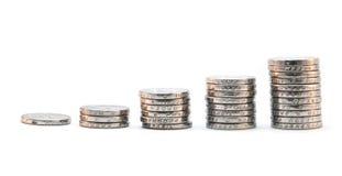Mucchio delle monete che salgono Immagine Stock