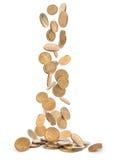 Mucchio delle monete di oro che cadono alla terra Fotografie Stock