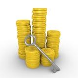 Mucchio delle monete e della chiave del dollaro Fotografia Stock Libera da Diritti