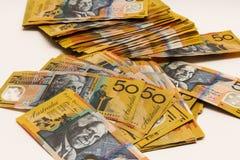 Mucchio delle note dell'australiano $50 Fotografia Stock Libera da Diritti