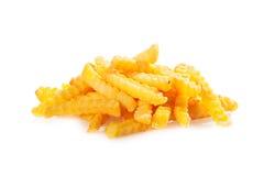 Mucchio delle patatine fritte fritte taglio della piega Immagini Stock Libere da Diritti