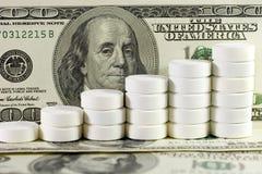 Mucchio delle pillole bianche sui dollari US Immagini Stock Libere da Diritti
