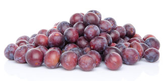 Mucchio delle prugne blu mature fresche Immagini Stock Libere da Diritti