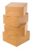 Mucchio delle scatole di cartone sopra fondo bianco. Fotografia Stock Libera da Diritti