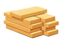 Mucchio delle tavole di legno di legno Fotografia Stock