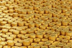 Mucchio di bitcoin, illustrazione 3D Fotografia Stock