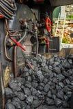 Mucchio di carbone in locomotiva a vapore Fotografia Stock Libera da Diritti