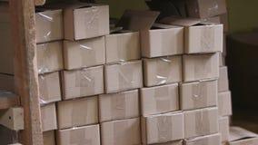 Mucchio di cartone in una fabbrica archivi video