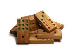 Mucchio di domino di legno Fotografie Stock Libere da Diritti