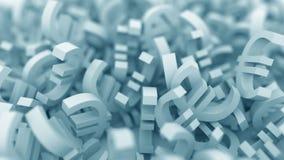 Mucchio di euro simboli blu animazione 3D archivi video