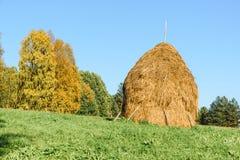 Mucchio di fieno di paglia su un'erba verde immagini stock libere da diritti