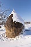 Mucchio di fieno in montagne di Carphatian, rumene Fotografie Stock Libere da Diritti