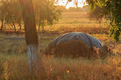 Mucchio di fieno sul tramonto di autunno Fotografia Stock