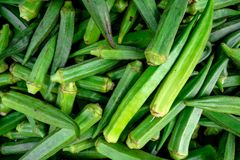 Mucchio di gombo verde fresco visualizzato al mercato di un agricoltore fotografie stock