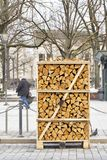 Mucchio di legna da ardere impilato sulla via Fotografie Stock