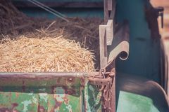 Mucchio di paglia asciutta sul camion con luce solare alla campagna nello stile d'annata fotografia stock