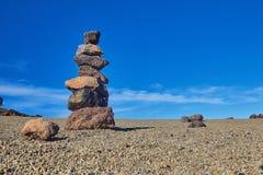Mucchio di pietra d'equilibratura nel parco nazionale di teide di EL, Spagna Fotografia Stock