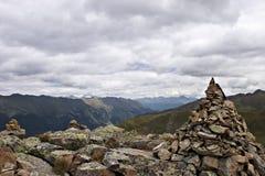 Mucchio di pietra nelle alpi Immagini Stock Libere da Diritti