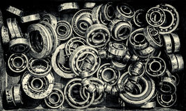 Mucchio di Rusty Ball Bearing Wheels anziano Immagini Stock