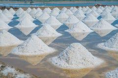 Mucchio di sale marino nell'azienda agricola originale dei prodotti del sale Fotografia Stock Libera da Diritti
