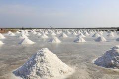 Mucchio di sale nella pentola del sale a zona rurale della Tailandia Fotografia Stock