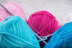 Mucchio di tricottare lana Fotografia Stock