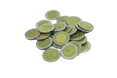 Mucchio di una moneta tailandese di dieci bagni Fotografie Stock