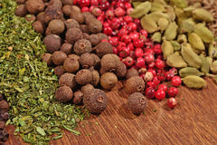 Mucchio di vari generi di spezie asciutte Immagine Stock