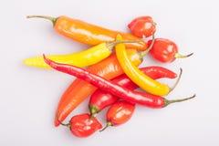 Mucchio di vari peperoncini isolati su fondo bianco Cottura gli ingredienti, gusto di spicey e del concetto dell'alimento biologi immagini stock